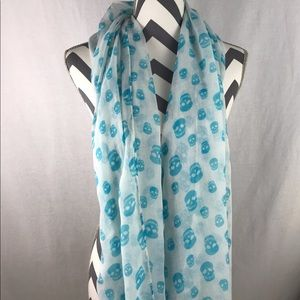 White Scarf with Blue Skulls